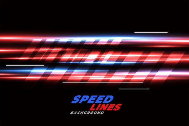 Velocità racing sfondo con linee rosse e blu incandescente