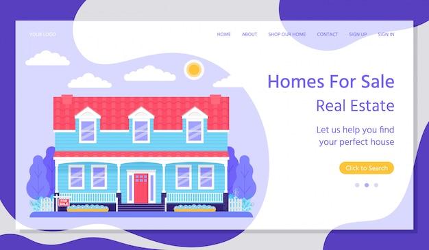 Vendita a casa. pagina di destinazione immobiliare. illustrazione piatta.