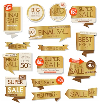 Vendita adesivi e tag collezione d'oro