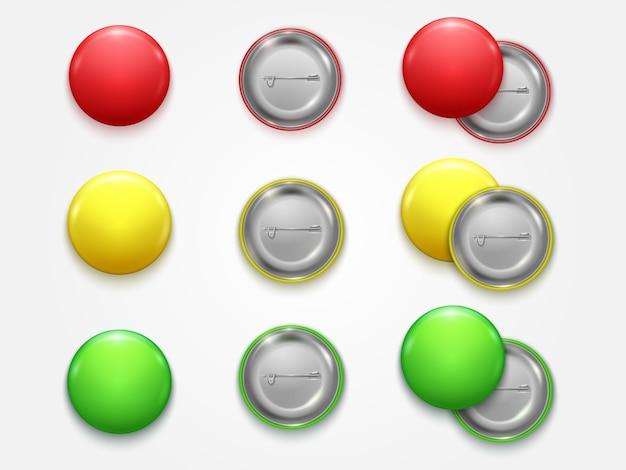 Vendita al dettaglio realistica vuota di pin set front side element presentation e pubblicità del distintivo del bottone del cerchio dello spazio in bianco di colore 3d.