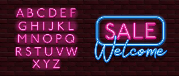 Vendita al neon di mattoni carattere font alfabeto parete