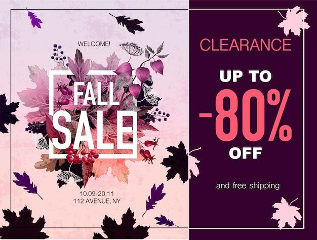 Vendita autunno banner con foglie e bacche
