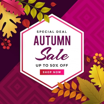Vendita autunno promozione poster design modello