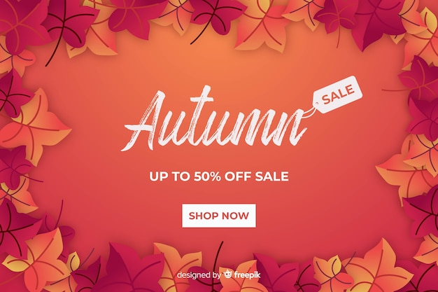 Vendita autunno rosso in design piatto