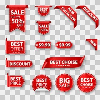 Vendita banner realistici e raccolta di etichette