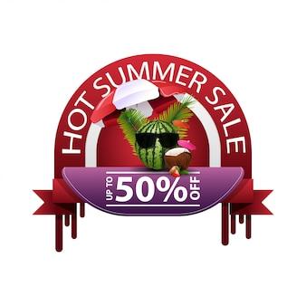 Vendita calda estate, banner web sconto rotondo per il tuo business