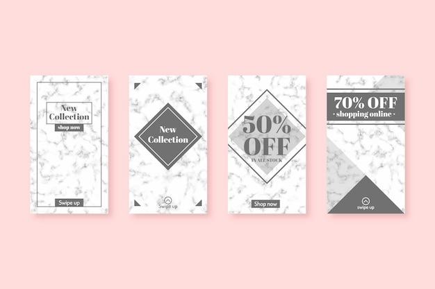 Vendita collezione di storie di instagram in stile marmo