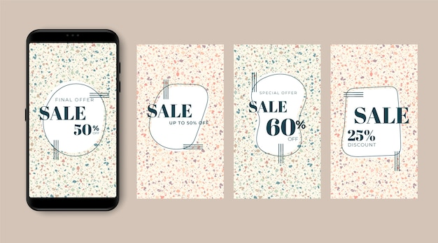 Vendita collezione di storie di instagram in stile terrazzo e disegnati a mano