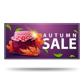 Vendita d'autunno, banner sconto viola con barattolo di marmellata e foglie di acero