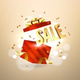 Vendita d'oro all'interno della confezione regalo rossa aperta. concetto di banner di vendita e promozione.