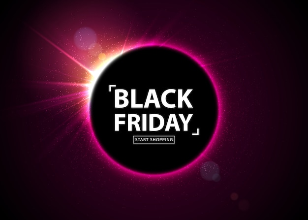 Vendita del black friday. banner incandescente con luce flash