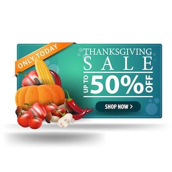 Vendita del ringraziamento, fino al 50% di sconto, banner web 3d orizzontale con raccolta autunnale.