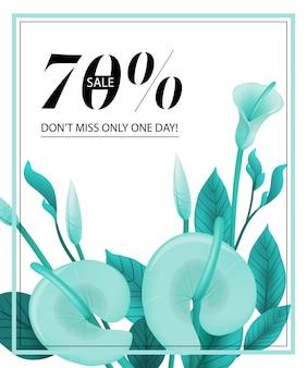 Vendita del settanta per cento, non perdetevi solo un coupon di un giorno con menta calla e cornice.