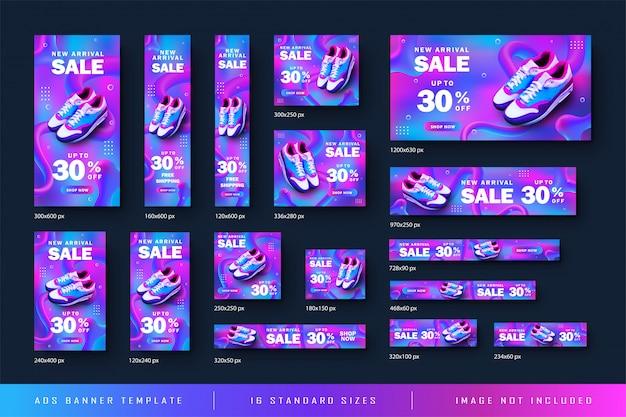 Vendita della scarpa dell'insegna di web dell'annuncio con il fondo astratto di pendenza e tutto il modello di dimensione standard