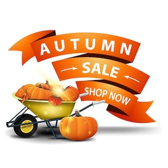 Vendita di autunno, banner web cliccabile di sconto in forma di nastri