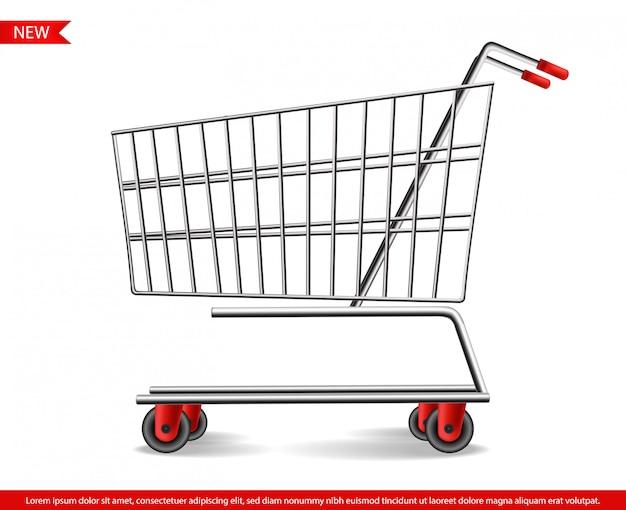 Vendita di black friday, carrello del negozio realistico, insegna di vendita, grande illustrazione della carta di promozione, modello di vendita speciale