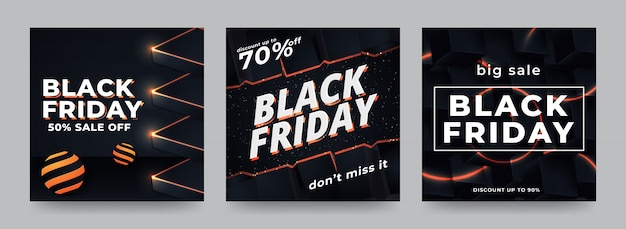 Vendita di black friday sui social media per la promozione di banner web