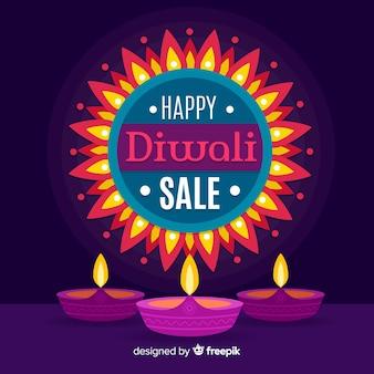 Vendita di diwali colorato in design piatto