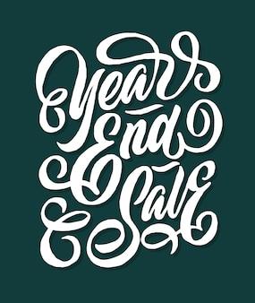 Vendita di fine anno lettering di tipografia di mano e marketing di negozio negozio di marketing