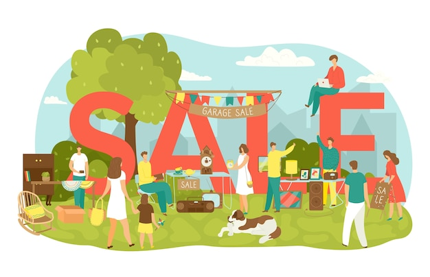 Vendita di garage in cortile con illustrazione di vendita di scritte. le persone acquistano e vendono articoli per la casa, abbigliamento, articoli sportivi e giocattoli. vecchi oggetti vintage e vendita di garage di mobili al mercato delle pulci.