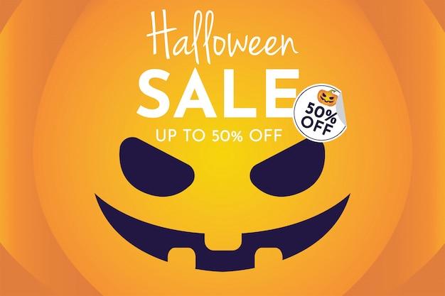 Vendita di halloween con banner di zucca