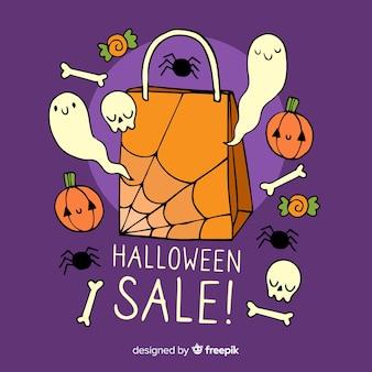 Vendita di halloween con fantasmi disegnati a mano