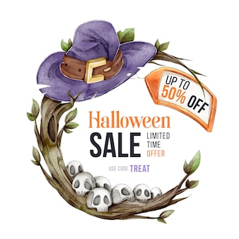 Vendita di halloween dell'acquerello