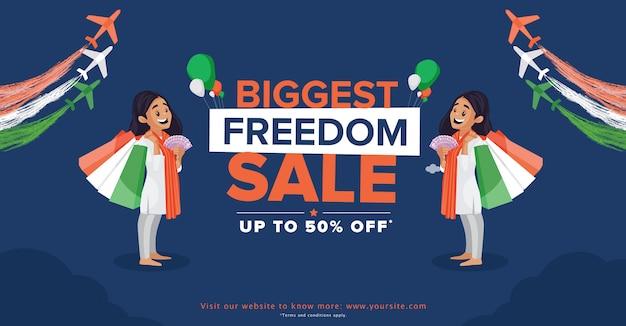 Vendita di indipendenza felice con offerte con ragazza con borsa della spesa e soldi su sfondo blu scuro