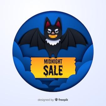 Vendita di mezzanotte di halloween con pipistrello felice