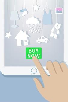 Vendita di natale e capodanno. l'acquirente del cliente effettua l'ordine sui regali per l'acquisto di app per dispositivi mobili