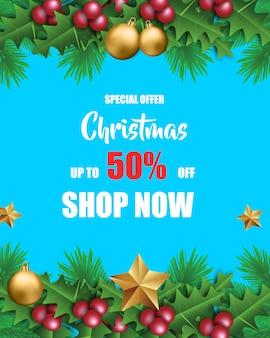 Vendita di natale per la promozione con foglie e decorazioni natalizie in sfondo blu