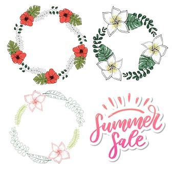 Vendita di parola di vettore. lettere fatte di fiori e foglie saldi estivi