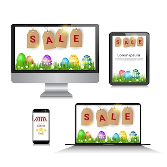 Vendita di pasqua offerta speciale banner per uova decorate