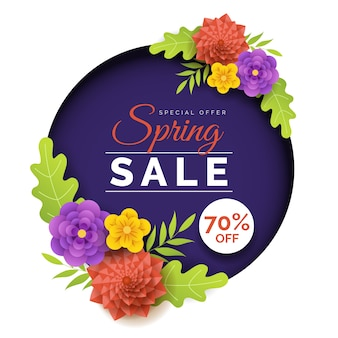 Vendita di primavera colorata in stile carta design