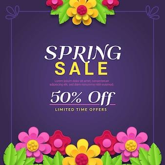 Vendita di primavera colorata in stile carta
