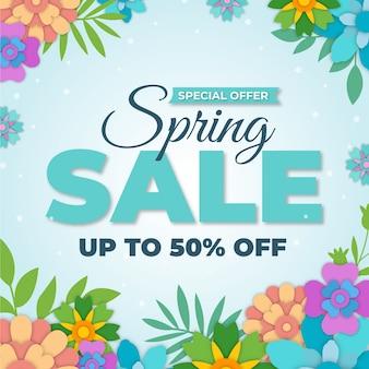 Vendita di primavera colorata in tema di stile di carta