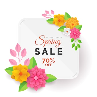 Vendita di primavera colorata nel concetto di stile di carta
