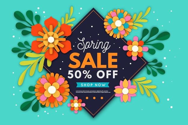 Vendita di primavera design colorato in stile carta