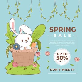 Vendita di primavera disegnata a mano con coniglietto e fiori