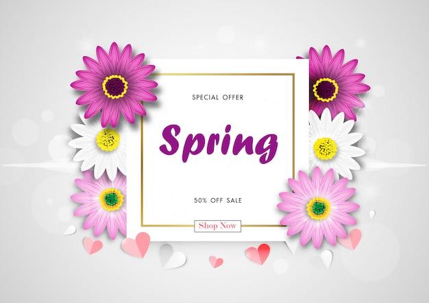 Vendita di primavera fuori dal fondo con daisy flower blossom design vector variopinto