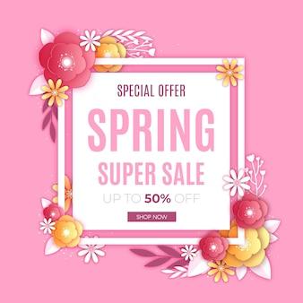 Vendita di primavera nel concetto di stile di carta