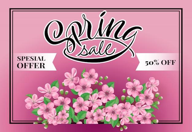 Vendita di primavera offerta speciale 50% di sconto sul lettering.
