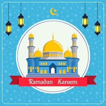 Vendita di ramadan kareem con sfondo moschea e lanterna