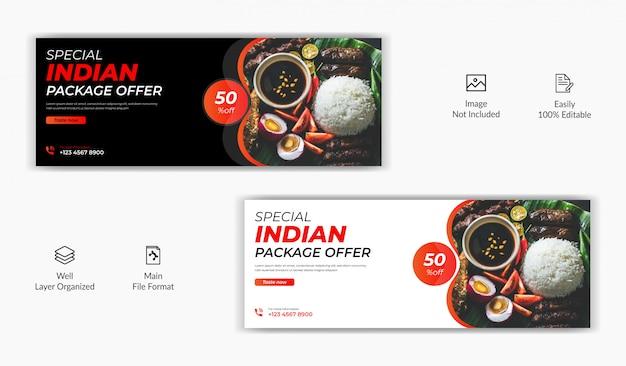 Vendita di ristoranti alimentari offerta social media post facebook copertina pagina timeline modello di banner sito web online