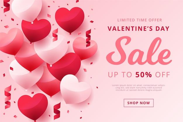 Vendita di san valentino in design piatto
