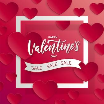 Vendita di san valentino. modello di poster con nastro cornice quadrata.