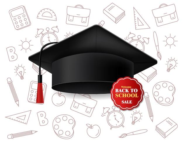 Vendita di sconto sul cappello di laurea per back to school