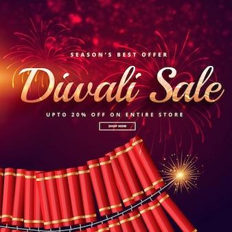 Vendita diwali con fuochi d'artificio