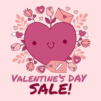Vendita e cuore disegnati a mano di san valentino con la lettera