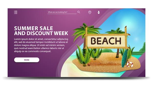 Vendita estiva e settimana di sconti, banner web moderno viola per il tuo sito web